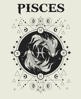 Ilustración símbolo del zodíaco piscis