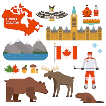 Ilustración de símbolos de canadá