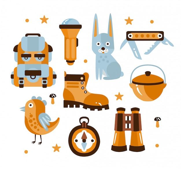 Ilustración de símbolos temáticos de camping
