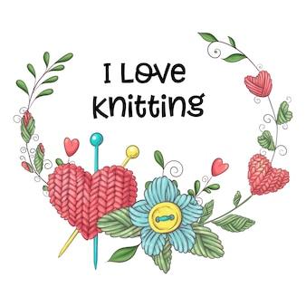 Ilustración simple con aguja de tejer.
