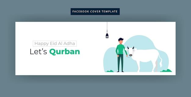 Ilustración simple del banner de la página de fans de facebook de eid al adha
