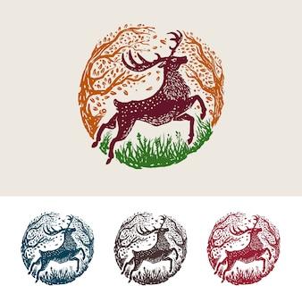 Ilustración simple colorido majestuoso ciervo de lujo
