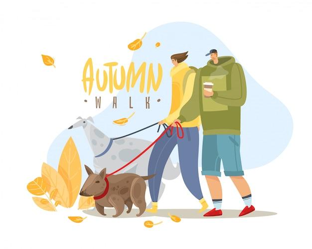 Ilustración simple de personas otoño