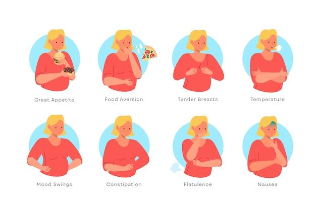 Ilustración de síntomas de embarazo