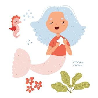 Ilustración de sirena y caballito de mar