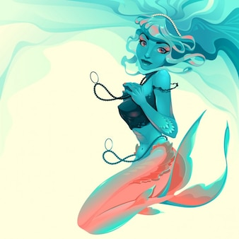 Ilustración de una sirena con joyas