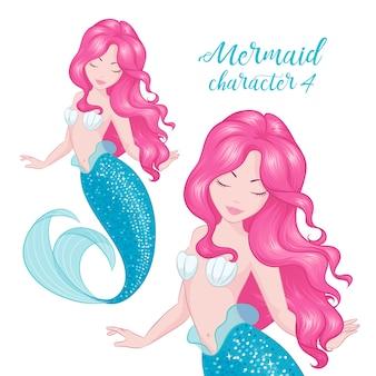 Ilustración de sirena linda dibujo en estilo moderno.