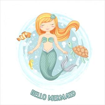 Ilustración de sirena linda con tortuga, caballito de mar y peces pequeños dibujados a mano.