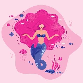 Ilustración de una sirena meditando con cabello suelto en el fondo del océano con conchas en sus manos.
