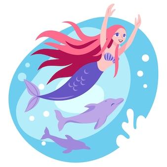 Ilustración de sirena plana