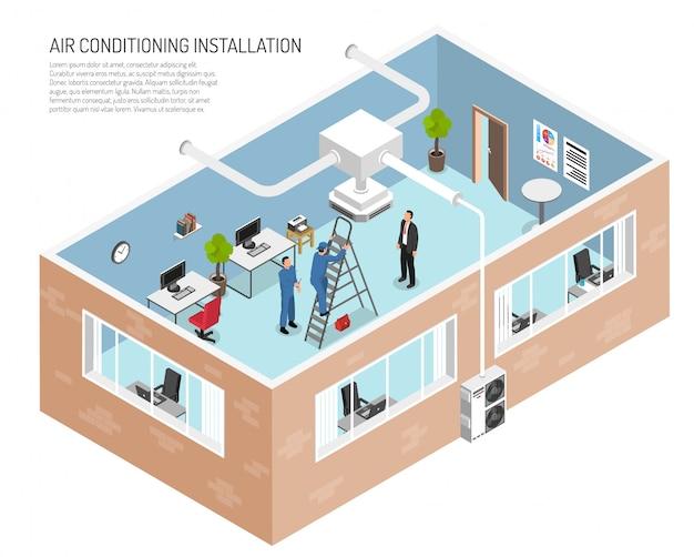 Ilustración del sistema de acondicionamiento de oficina