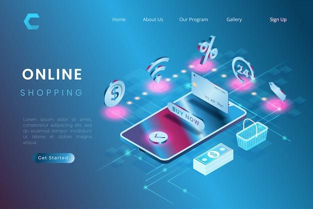 Ilustración del sistema de compras en línea, pago de comercio electrónico y entrega en estilo isométrico 3d