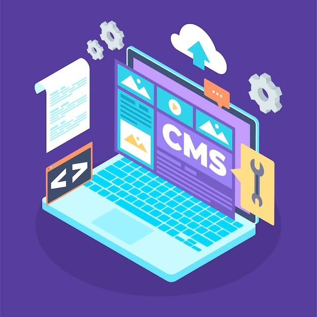 Ilustración de sistema de gestión de contenido isométrico
