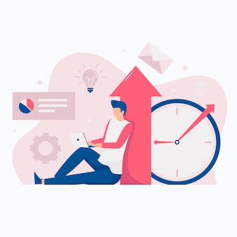 Ilustración del sitio web del concepto de aumento de productividad