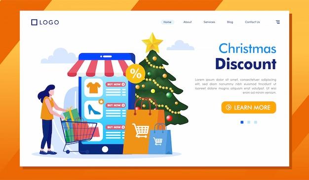 Ilustración de sitio web de página de aterrizaje de descuento de navidad