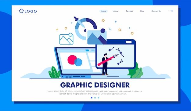 Ilustración del sitio web de la página de aterrizaje del diseñador gráfico