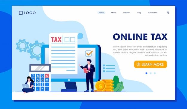 Ilustración de sitio web de página de aterrizaje de impuestos en línea