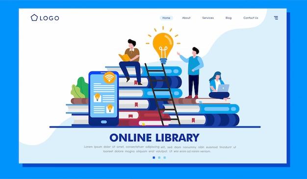 Ilustración del sitio web de la página de destino de la biblioteca en línea