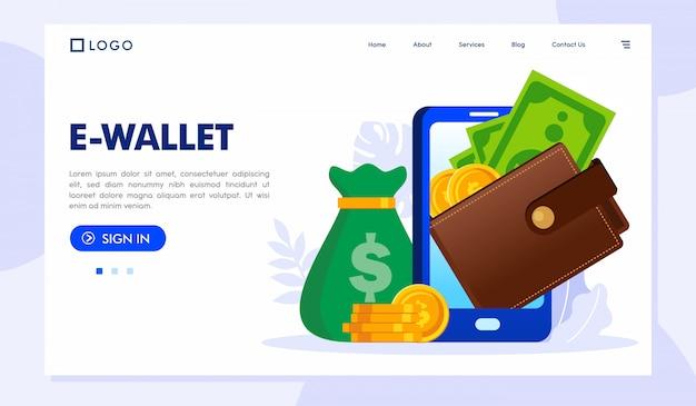 Ilustración del sitio web de la página de destino de la billetera electrónica