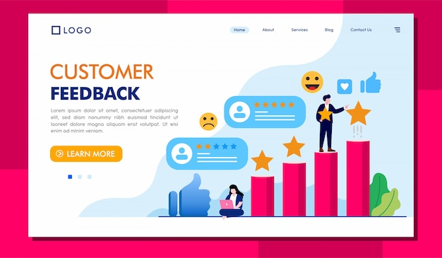 Ilustración de sitio web de página de destino de comentarios de clientes