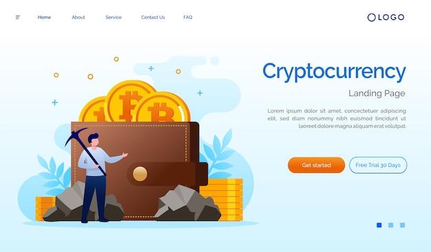 Ilustración de sitio web de página de destino de criptomonedas