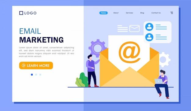 Ilustración del sitio web de la página de destino de marketing por correo electrónico
