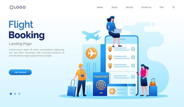 Ilustración del sitio web de la página de destino de la reserva de vuelos