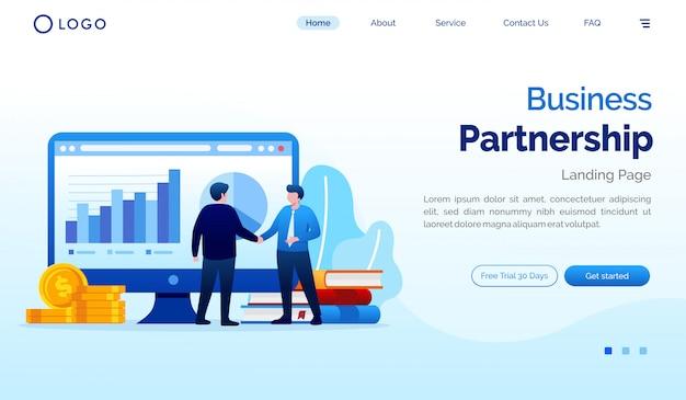 Ilustración de sitio web de página de inicio de asociación comercial