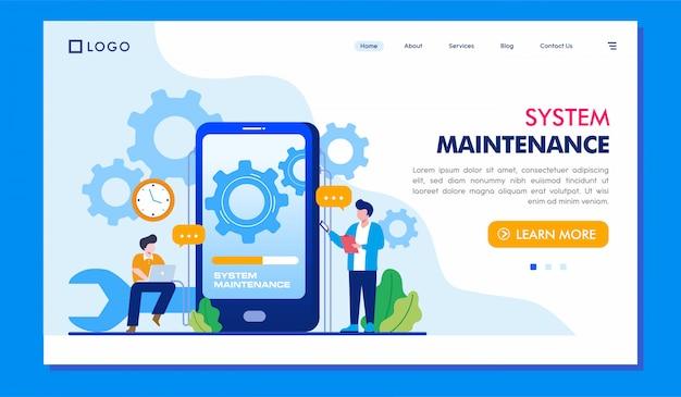 Ilustración del sitio web de la página de inicio de mantenimiento del sistema