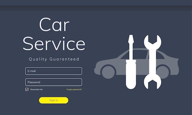 Ilustración del sitio web de servicio de coche.