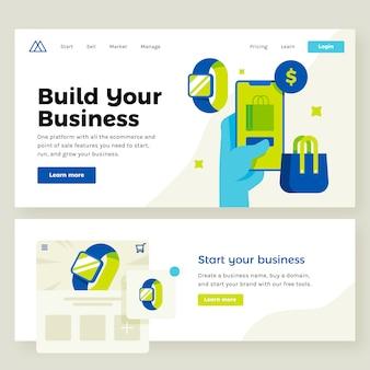 Ilustración de sitio web de tienda de comercio electrónico