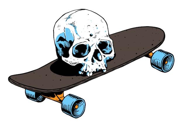 Ilustración de skate y calavera
