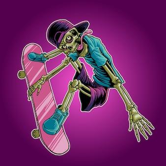 Ilustración de skate de cráneo