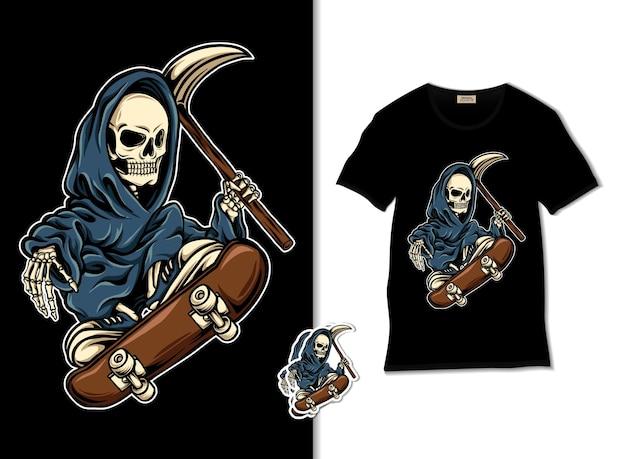Ilustración de skate grim reaper