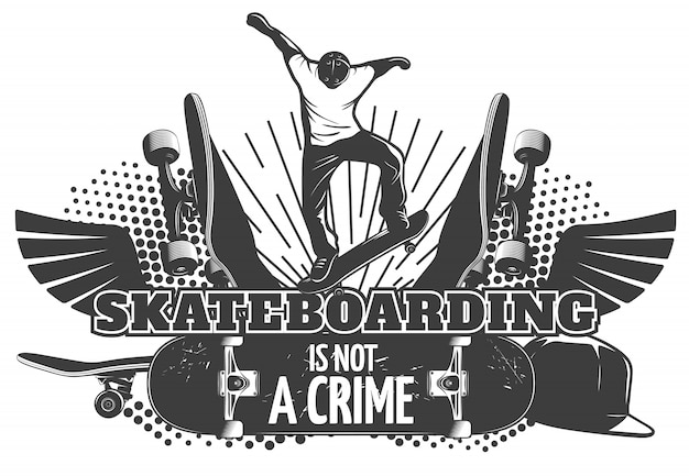Ilustración de skateboarding con titulares el skateboarding no es un delito