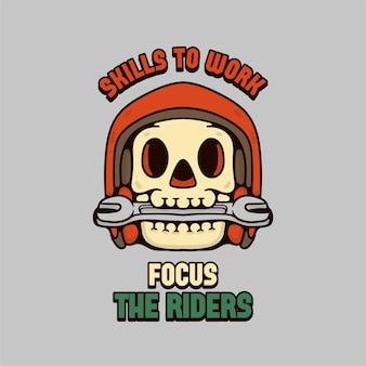 Ilustración de skull rider con diseño vintage de casco y engranaje clave
