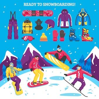 Ilustración de snowboard
