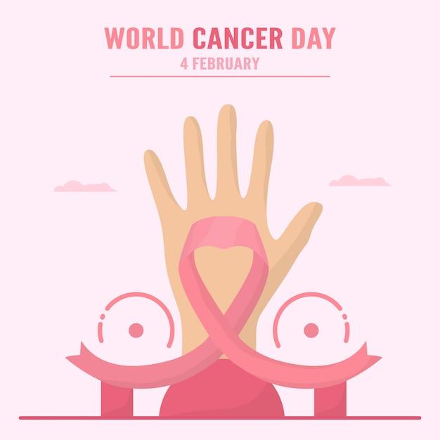 Ilustración sobre el día mundial contra el cáncer. la gente tiene que crear conciencia y educación sobre esta enfermedad. el signo de este día es la cinta rosa.