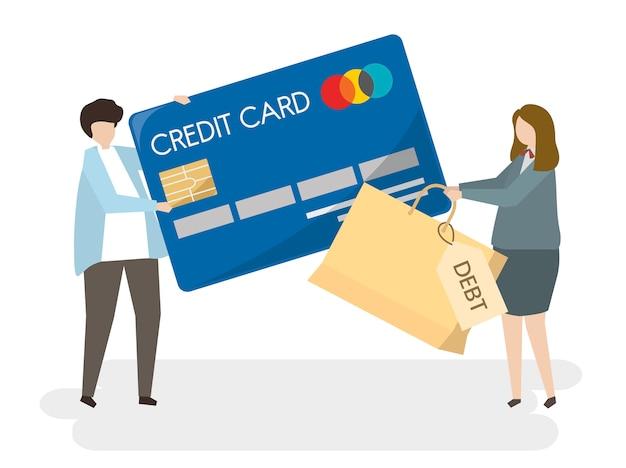 Ilustración sobre personas con tarjeta de crédito.