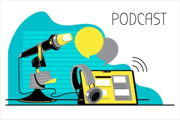 Ilustración sobre podcasting. equipo de podcast