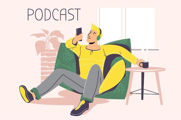 Ilustración sobre podcasting. personas escuchando audio en auriculares.