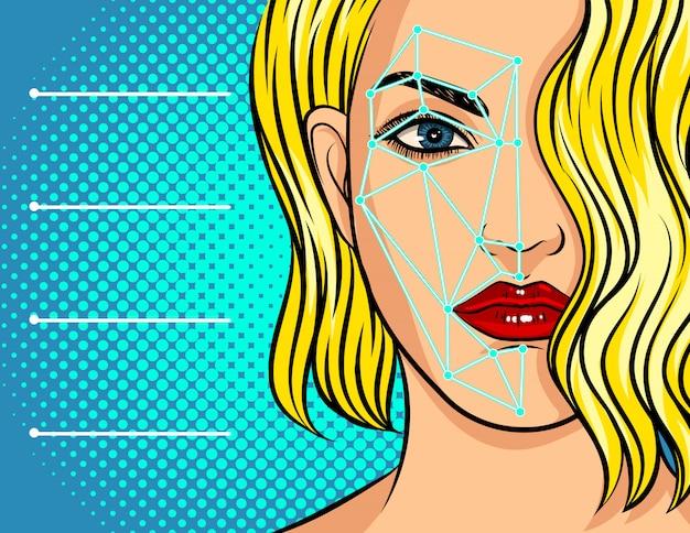 Ilustración sobre reconocimiento facial, escaneo por computadora del rostro femenino