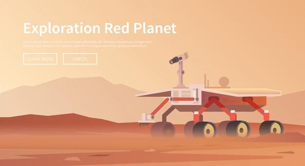 Ilustración sobre el tema: astronomía, vuelo espacial, exploración espacial, colonización, tecnología espacial. el banner web. mars rover
