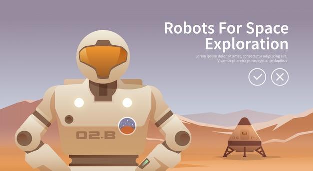 Ilustración sobre el tema: astronomía, vuelo espacial, exploración espacial, colonización, tecnología espacial. el banner web. robots para el espacio.