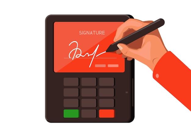 Ilustración sobre el tema de la firma digital con terminal de pago.