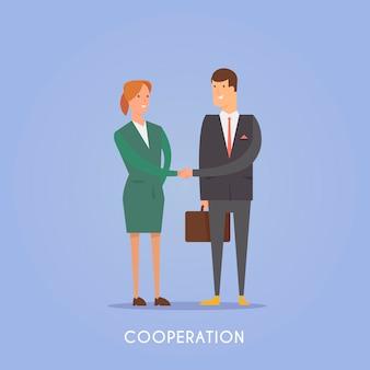 Ilustración sobre el tema: inicio, equipo, trabajo en equipo, éxito en la planificación empresarial cooperación