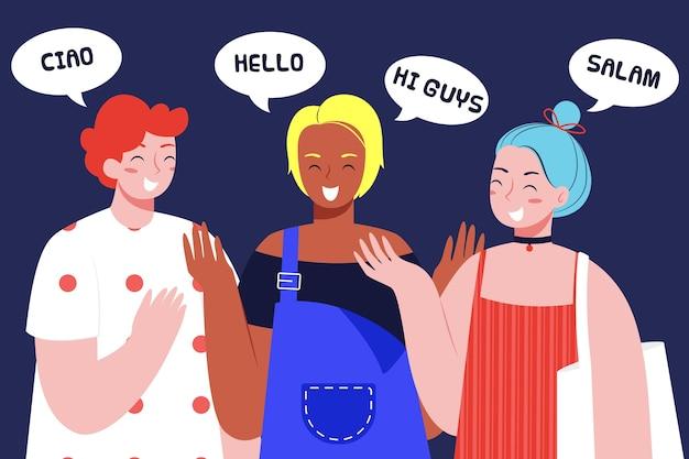 Ilustración de la sociedad multicultural en diseño plano