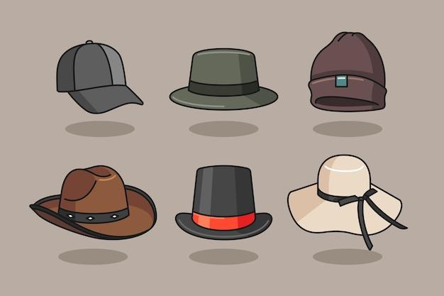 Ilustración de sombrero con estilo dibujado a mano