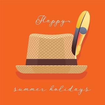 Ilustración de sombrero de verano, clipart