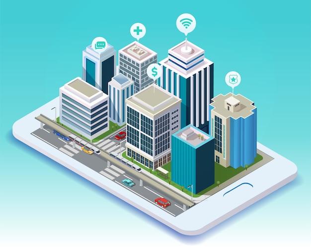 Ilustración sometric de la aplicación móvil de ciudad inteligente en tableta